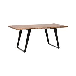 Beliani - Industrial Dining Table Kitchen Iron Legs Acacia Wood Tabletop 180 x 90 cm Black Agra