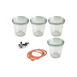 Weck Einmachglas 4er-Set Einweckgläser Sturzglas-Form 0,5l, mit
