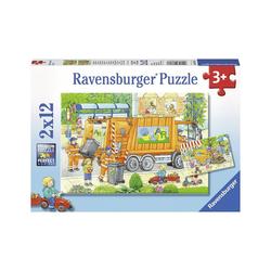 Ravensburger Puzzle 2er Set Puzzle, je 12 Teile, 26x18 cm, Müllabfuhr, Puzzleteile