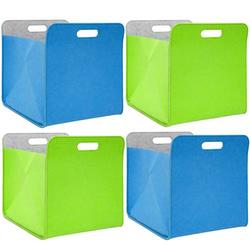 4er Set Filz Aufbewahrungsbox 33x33x38cm Kallax Filzkorb Regal Filzbox Blau Grün