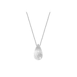 Zeeme Collier 925-/ Sterling Silber Bergkristall Tropfen weiß