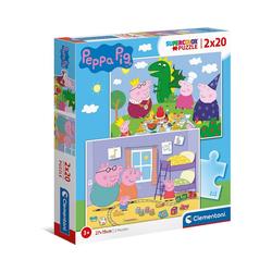 Clementoni® Puzzle Puzzle 2 x 20 Teile, Supercolor - Peppa Pig, Puzzleteile