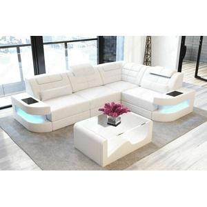 Sofa Eckcouch Ledersofa COMO L Form Ottomane Kopfstützen LED Beleuchtung weiss