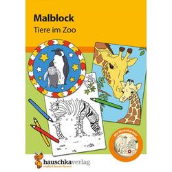 Malblock - Tiere im Zoo, A5-Block