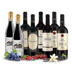 Italiens rote Weinperlen mit 8 Flaschen