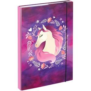 Baagl Heftbox für Schulranzen A4 - Sammelmappe für Kinder mit Gummiband und Innenklappen - Heftmappe, Sammelbox mit Gummizug für Mädchen (Pferd)