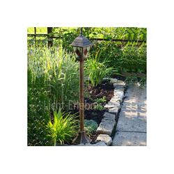 Licht-Erlebnisse Außen-Stehlampe MONACO Antike Stehlampe außen Gold Antik Tiffany Glas Garten Lampe
