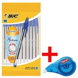 10er-Pack Kugelschreiber »Cristal Medium« inkl. Einweg-Korrekturroller »EASY COR blau, BIC