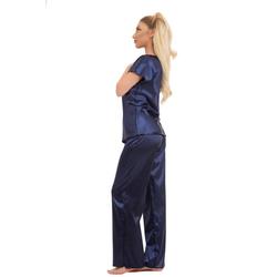 Evoni Pyjama Schlafanzug lang Pyjama aus Satin blau XL(42)