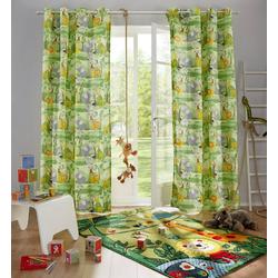 Gardine Dschungel, Lüttenhütt, Ösen (1 Stück), Nachhaltige Kindergardine 135 cm x 225 cm