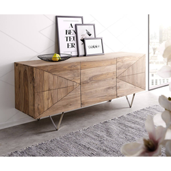 DELIFE Sideboard Wyatt, Sheesham Natur 175 cm 3D Optik Edelstahl Sideboard natur 175 cm x 71 cm x 45 cm