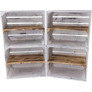Kontorei 1-12 x Schönes graues Vintage Regal mit geflammtem Mittelbrett, neu, als Schuhregal/Bücherregal/Handtuchregal, DIY, 50x40x30cm (1)