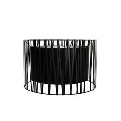 Licht-Erlebnisse Lampenschirm MINA Lampenschirm Schwarz groß für Stehleuchte Stoff Metall Lampe