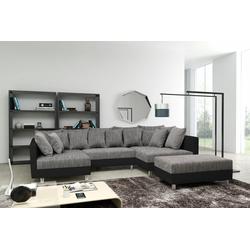 Küchen-Preisbombe Sofa Sofa Couch Ecksofa Eckcouch in schwarz / hellgrau Eckcouch mit Hocker- Minsk XXL, Sofa in U-Form mit Hocker