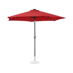 Uniprodo Sonnenschirm mit LED - rot - rund - Ø 300 cm - neigbar UNI_UMBRELLA_TR300REL