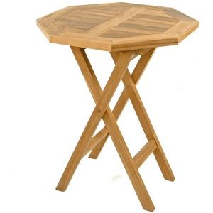 DIVERO Balkontisch Gartentisch Tisch Holz Teak behandelt klappbar Ø 60 cm rund