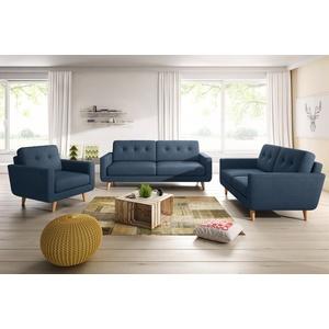 KAWOLA Sitzgruppe ALEXO 3-Sitzer 2-Sitzer Sofa Sessel Stoff blau