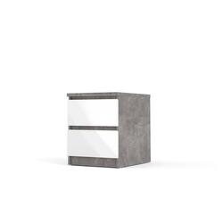 ebuy24 Nachttisch Nada Nachttisch mit 2 Schubladen, beton dekor,wei