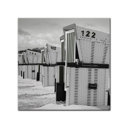 Bilderdepot24 Leinwandbild, Leinwandbild - Strandkörbe - schwarz weiß 80 cm x 80 cm