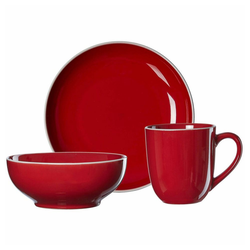 Ritzenhoff & Breker Frühstücks-Geschirrset Linus Rot (3-tlg), Steinzeug rot