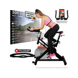 Miweba Sports Fahrradtrainer MS400, 22 Kg Schwungrad - Tablet- und Smartphonehalter - Pulsgurt - Transportrollen
