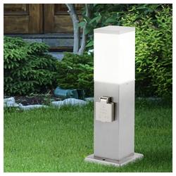 etc-shop LED Gartenleuchte, Standleuchte Außen mit Steckdose Aussenleuchte mit Steckdose Gartensteckdose mit Licht, 2x Steckdose Stahl, 1x E27, H 36 cm, Garten