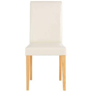 Esstühle in Creme Weiß Kunstleder hoher Lehne (2er Set)