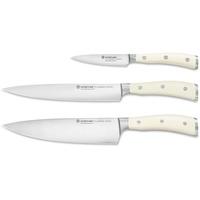 Wüsthof Messersatz 3-teilig, Classic Ikon Crème (1120460301), Kochmesser, Schinken- und Gemüsemesser, Küchenmesser Set, geschmiedet, weiße Griffe