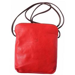 FLORENCE Umhängetasche D2OTF113R Florence Echtleder Damen Handtasche, Damen, Jugend Tasche aus Echtleder in rot, braun, Made-In Italy