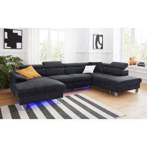 COTTA Polstergarnitur Komaris, (Set), Set: bestehend aus Wohnlandschaft und Hocker, Sofa inklusive Kopfteilverstellung, wahlweise mit Bettfunktion und RGB-LED-Beleuchtung schwarz