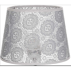 Licht-Erlebnisse Lampenschirm WILLOW Lampenschirm Grau für Nachttischlampe Spitze Stoff Tischleuchte Lampe
