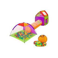 tectake Spielzelt Spielzelt mit Tunnel, 200 Bällen und Tasche bunt
