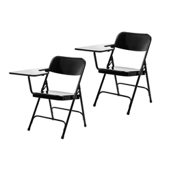 2pk Tablet Right Arm Folding Chair Black - Hampton Collection