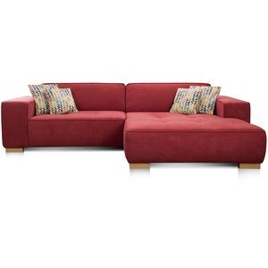 """Cavadore Ecksofa """"Zappo"""" mit Federkern, Bettfunktion und XXL Longchair / Schlafcouch mit großer Liegefläche / Modernes Design / 293 x 78 x 172 cm / Rot"""