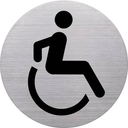 Türschild Piktogramm Rollstuhl 115mm silber
