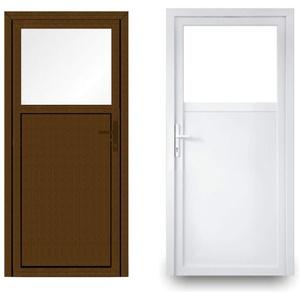 EcoLine Nebentür - Nebeneingangstür - Tür - 2-Fach, 1/3 Glas, 2/3 Füllung, außenöffnend innen: weiß/außen: Nussbaum BxH: 900 x 2100 mm DIN Links