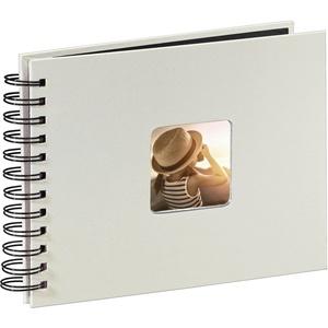 Hama Fotoalbum 24x17 cm (Spiral-Album mit 50 schwarzen Seiten, Fotobuch mit Pergamin-Trennblättern, Album zum Einkleben und Selbstgestalten) kreide