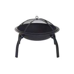 Outsunny Holzkohlegrill Feuerschale mit Funkenschutz schwarz