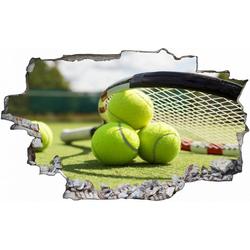 DesFoli Wandtattoo Tennis Tennisball Tennisplatz C0613 bunt 150 cm x 100 cm
