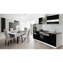 Respekta Küchenzeile KB280WS 280 cm Weiß - Schwarz