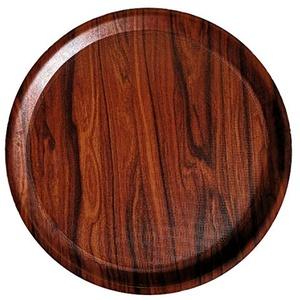 Staab's Gastro Tablett rechteckig Mahagoni braun/Laminat mit antirutsch Oberfläche, Kellnertablett, Serviertablett, Bierglasträger, Gläsertablett (∅ rund 32cm)