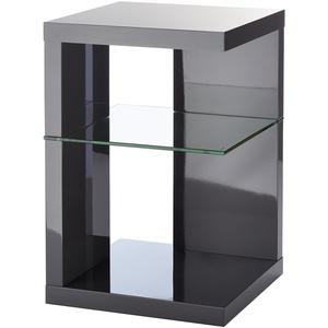 HomeTrends4You 516653 Beistelltisch / Nachttisch Domingo, Anthrazit Hochglanz, grau, 40x40cm, Höhe 60cm