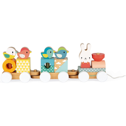Janod Nachziehspielzeug Pure Nachziehzug bunt Kinder Holzspielzeug