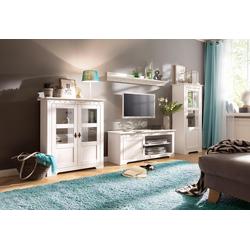 Home affaire Wohnwand Laura, (Set, 3-tlg), mit 1 Vitrine, 1 TV-Lowboard und 1 Highboard weiß