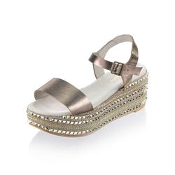 Alba Moda Sandalette aus Perlatoleder natur 35