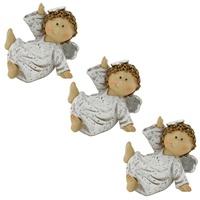 3er Set Weihnachts Engel Steh Figuren sitzend Advents Dekoration silber Flügel