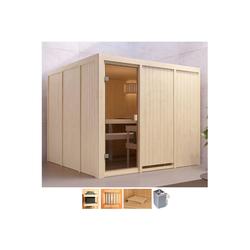 Karibu Sauna Ferun, BxTxH: 231 x 231 x 198 cm, 68 mm, 9-kW-Ofen mit int. Steuerung