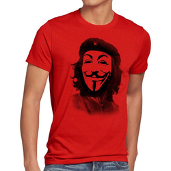 style3 Print-Shirt Herren T-Shirt Anonymous Che Guevara guy fawkes occupy maske guy fawkes hacker g8 kuba rot 4XL