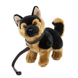 Teddys Rothenburg Kuscheltier Hund Schäferhund mit Leine stehend 23 cm (Plüschtier, Stofftier, Stoffhund, Plüschschäferhund, Schäferhunde)