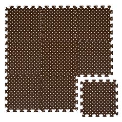 LittleTom Puzzlematte Baby Puzzlematte ab 0 Kinder Spielmatte, 9 Puzzleteile, Krabbelmatte Punkte Braun